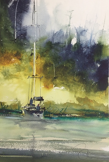 Watercolor Waterscapes with Energy and Freedom