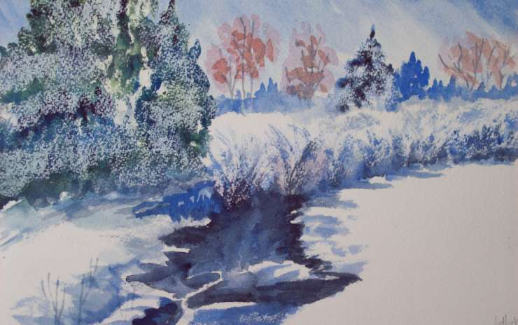 Watercolor, Wine, and a Winter Scene