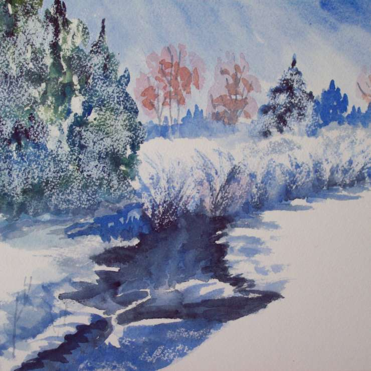 Watercolor, Wine, and a Winter Scene